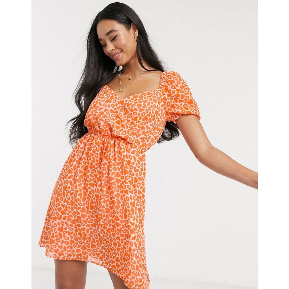 フレンチコネクション French Connection レディース ワンピース ワンピース・ドレス【lips and heart print mini dress in neon orange】Neon orange