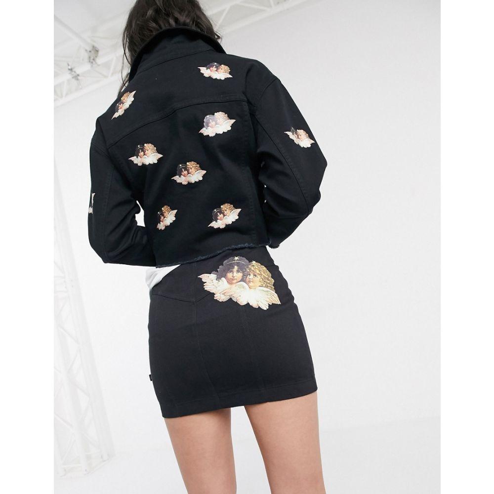 フィオルッチ Fiorucci レディース ミニスカート デニム スカート【mini denim skirt with angels patch】Black