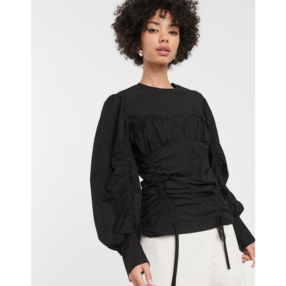 シモネット Simonett レディース ブラウス・シャツ ビスチェ トップス【Vitor ruched side bustier blouse in black】Black