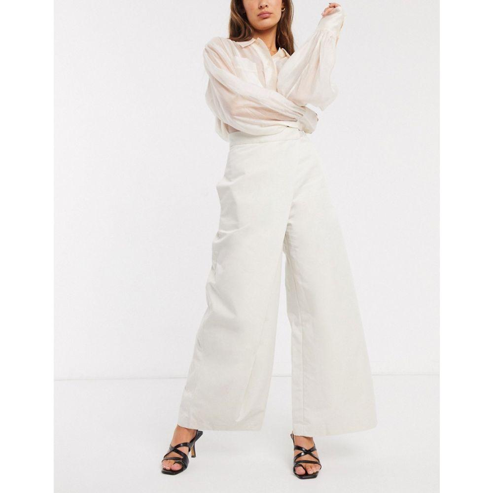 シモネット Simonett レディース ボトムス・パンツ ワイドパンツ【Fiorito crossover front wide leg trousers】Beige