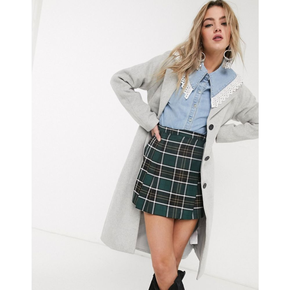 オブジェクト Object レディース コート アウター【wool coat with tie belt in grey】Grey