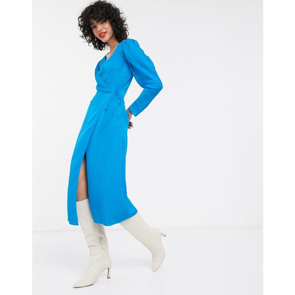アンドアザーストーリーズ & Other Stories レディース ワンピース ラップドレス ミドル丈 ワンピース・ドレス【puff sleeve jacquard midi wrap dress in blue】Blue