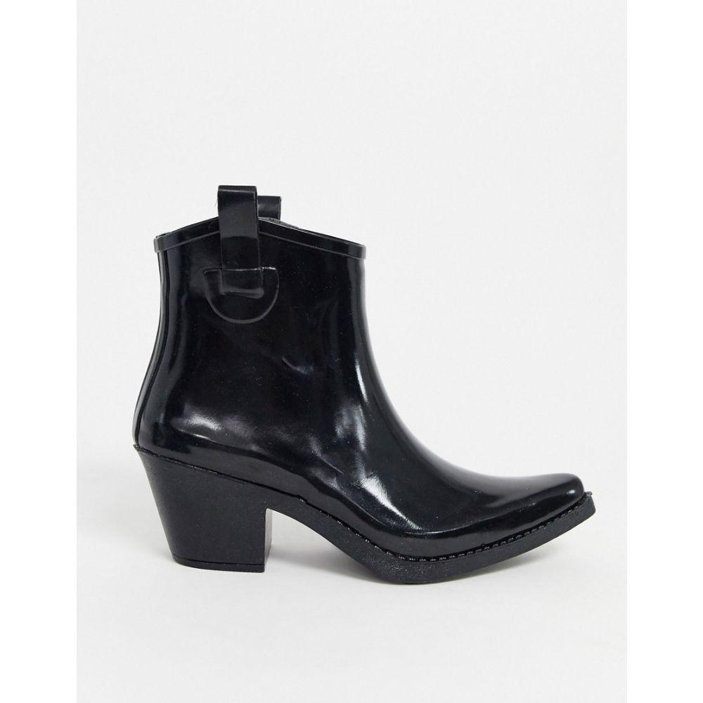 エイソス ASOS DESIGN レディース ブーツ ウェスタンブーツ シューズ・靴【Gecko western rain boots in black】Black