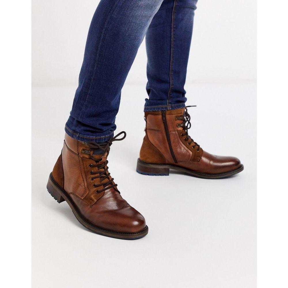 デューン Dune メンズ ブーツ レースアップブーツ シューズ・靴【leather chunky lace up boot in brown】Brown