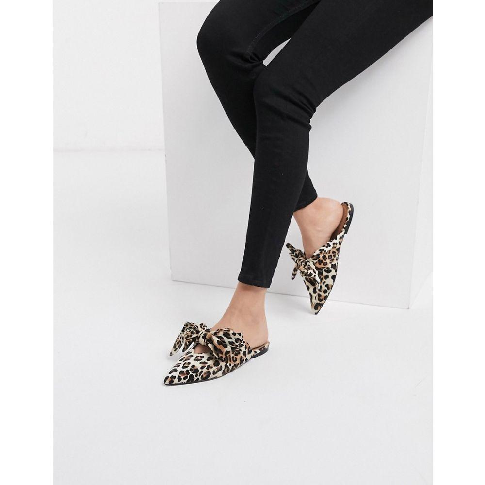 エイソス ASOS DESIGN レディース スリッポン・フラット シューズ・靴【Letty bow slingback ballet flats in leopard】Leopard