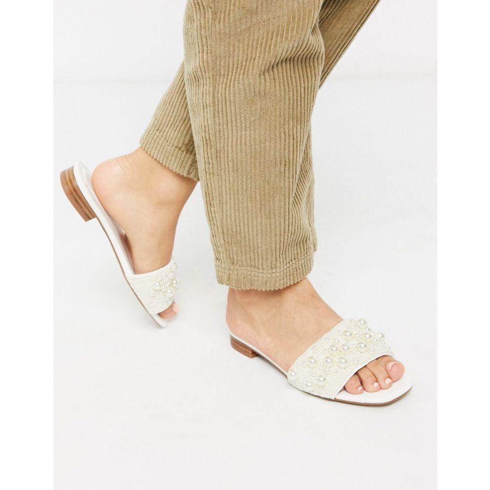 エイソス ASOS DESIGN レディース サンダル・ミュール シューズ・靴【Fabricate pearl embellished mule sandals in white】White