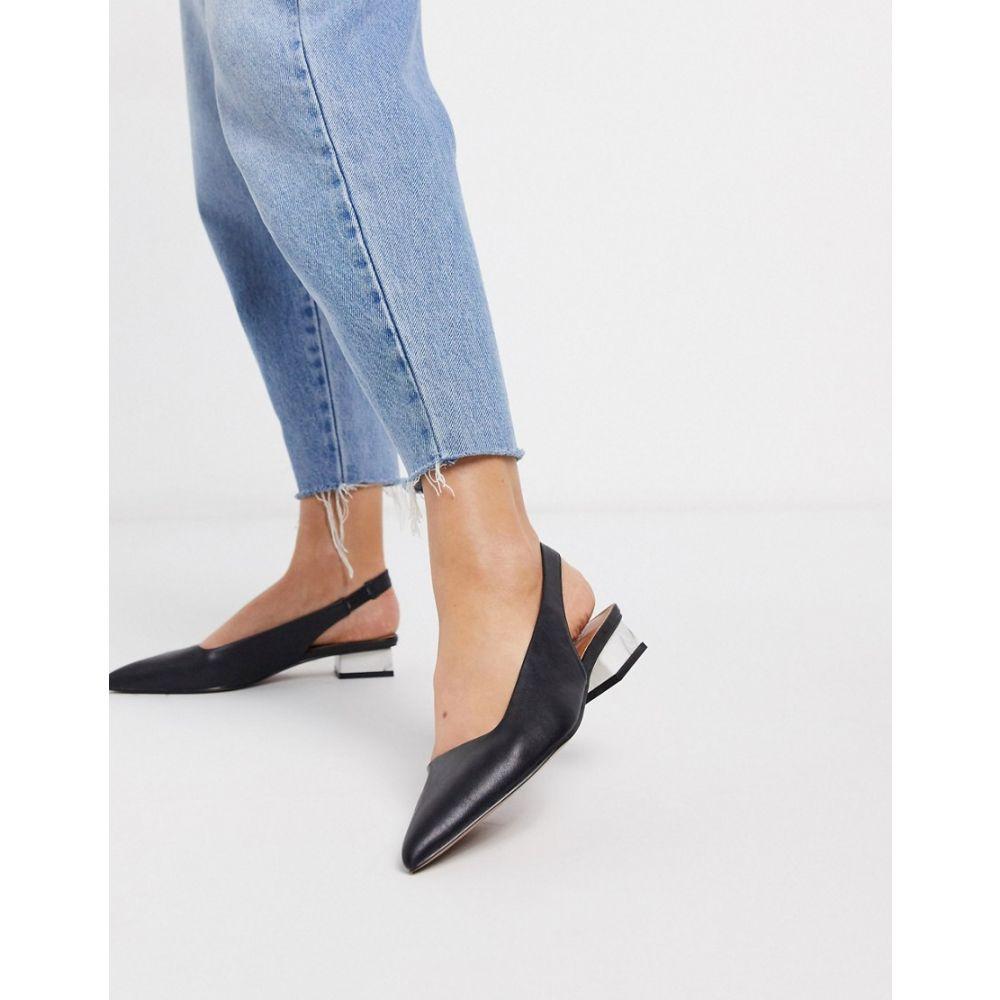 エイソス ASOS DESIGN レディース スリッポン・フラット シューズ・靴【Letter slingback ballet flats with marbel heel in black】Black
