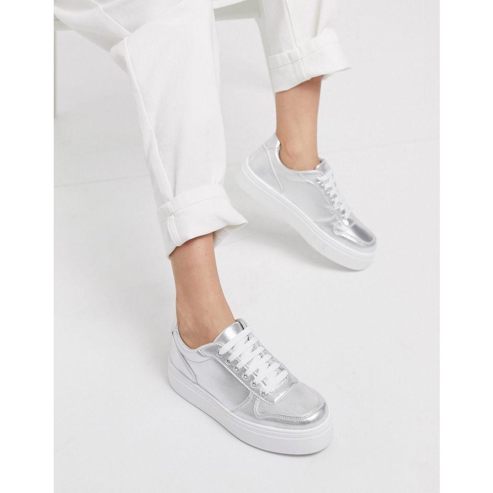 エイソス ASOS DESIGN レディース スニーカー チャンキーヒール シューズ・靴【Dessie flatform chunky trainers in silver】Silver