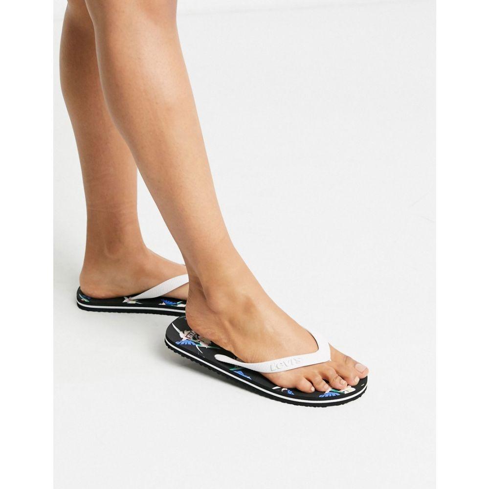 リーバイス Levi's レディース ビーチサンダル シューズ・靴【floral print detail flip flop】Regular white
