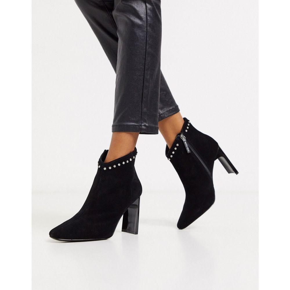 リバーアイランド River Island レディース ブーツ ショートブーツ シューズ・靴【suede heeled ankle boots in black】Black