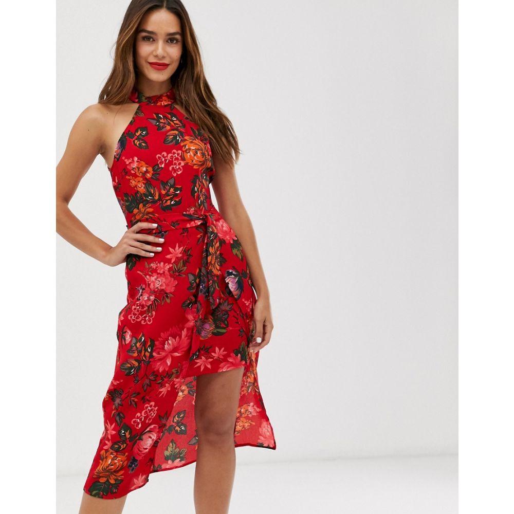 アックスパリス AX Paris レディース ワンピース ワンピース・ドレス【floral halter neck dress】Red