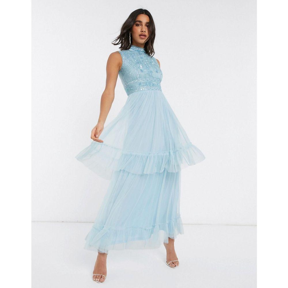 フロックアンドフリル Frock and Frill レディース ワンピース ティアードドレス ワンピース・ドレス【Frock & Frill tiered tulle maxi dress in blue】Skyway blue