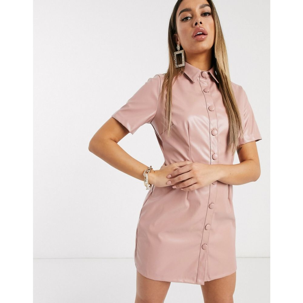 ブーフー Boohoo レディース ワンピース ミニ丈 ワンピース・ドレス【leather look mini dress with button through in pale pink】Pink
