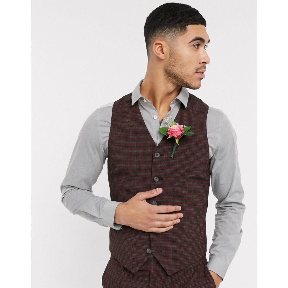 エイソス ASOS DESIGN メンズ ベスト・ジレ トップス【wedding skinny suit waistcoat in mini check in burgundy and grey】Burgundy