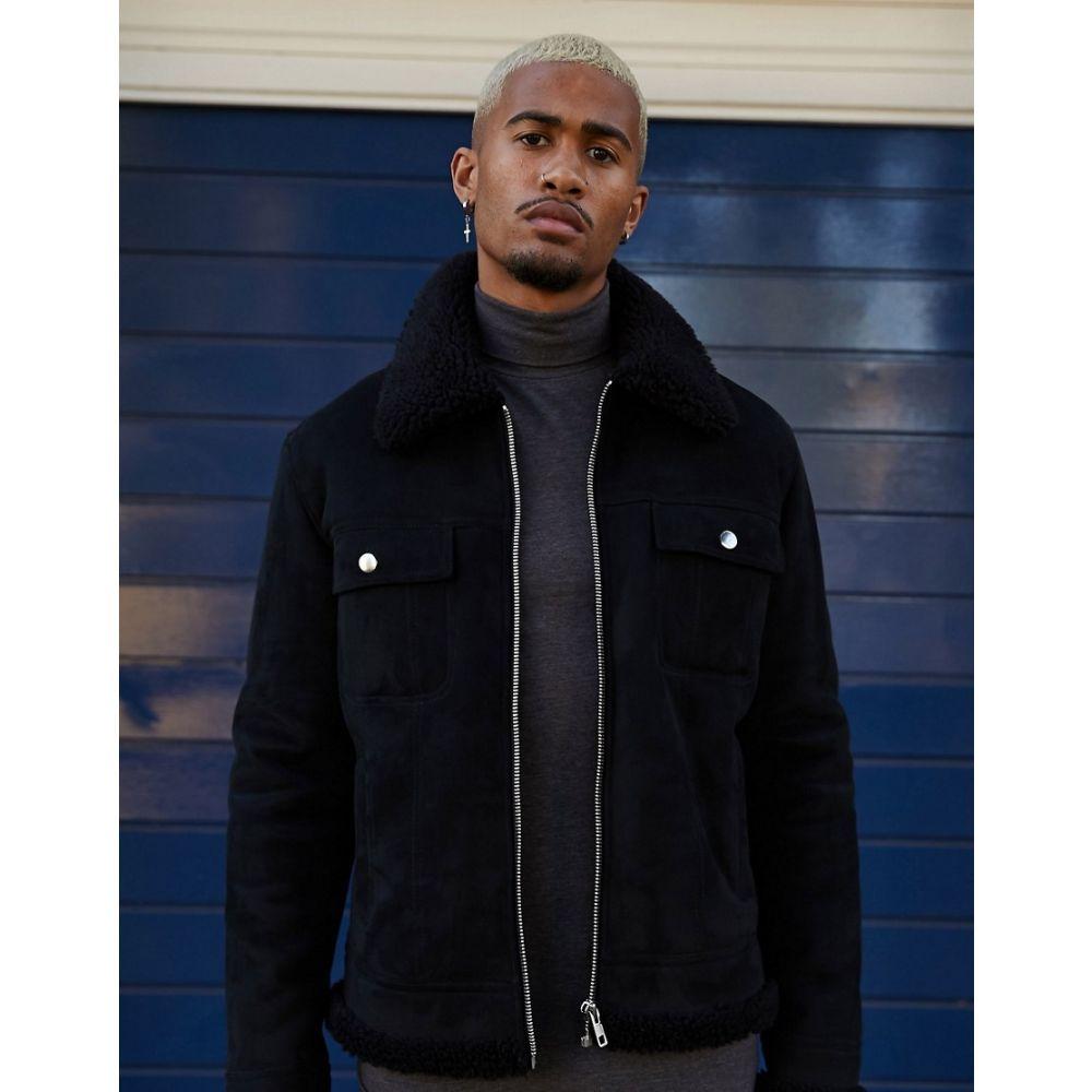 エイソス ASOS DESIGN メンズ レザージャケット アウター【faux suede western jacket in black with teddy lining】Black