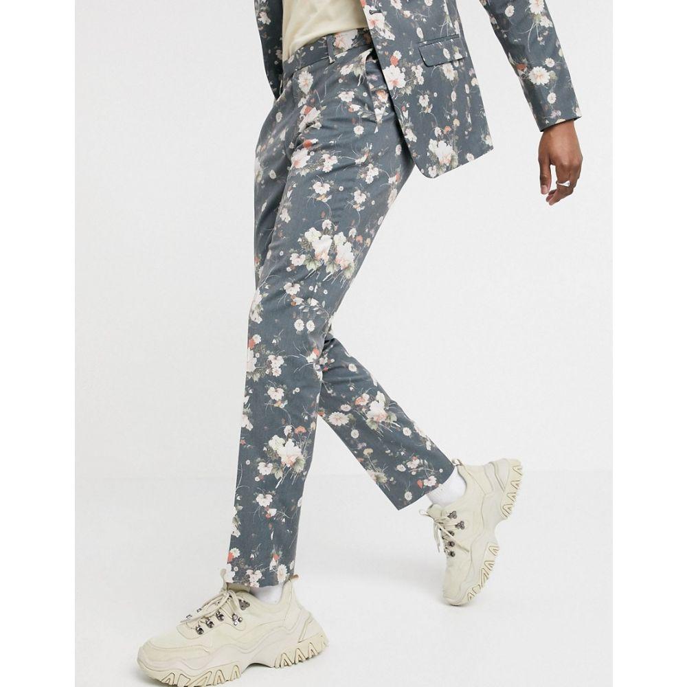エイソス ASOS DESIGN メンズ スラックス ボトムス・パンツ【skinny suit trousers in navy floral print】Navy