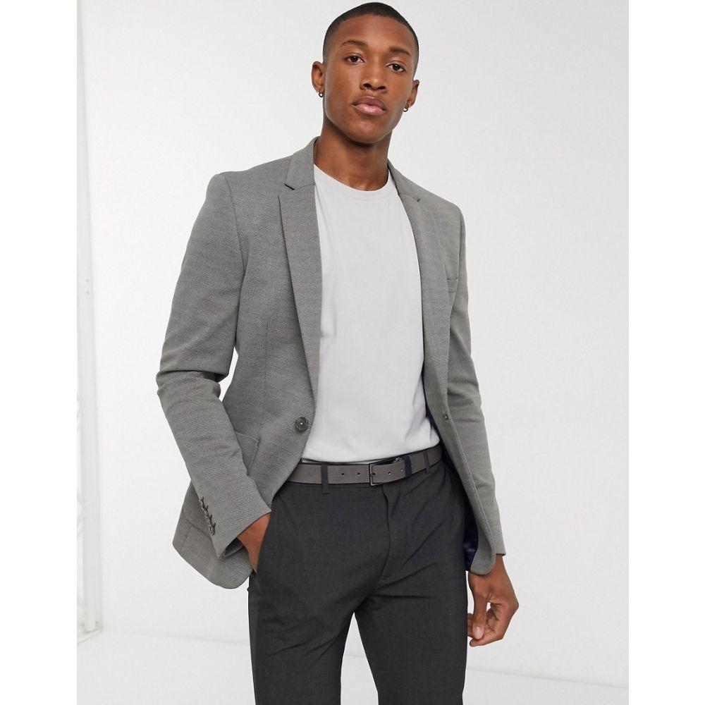 エイソス ASOS DESIGN メンズ スーツ・ジャケット アウター【super skinny pique jersey blazer in grey】Green