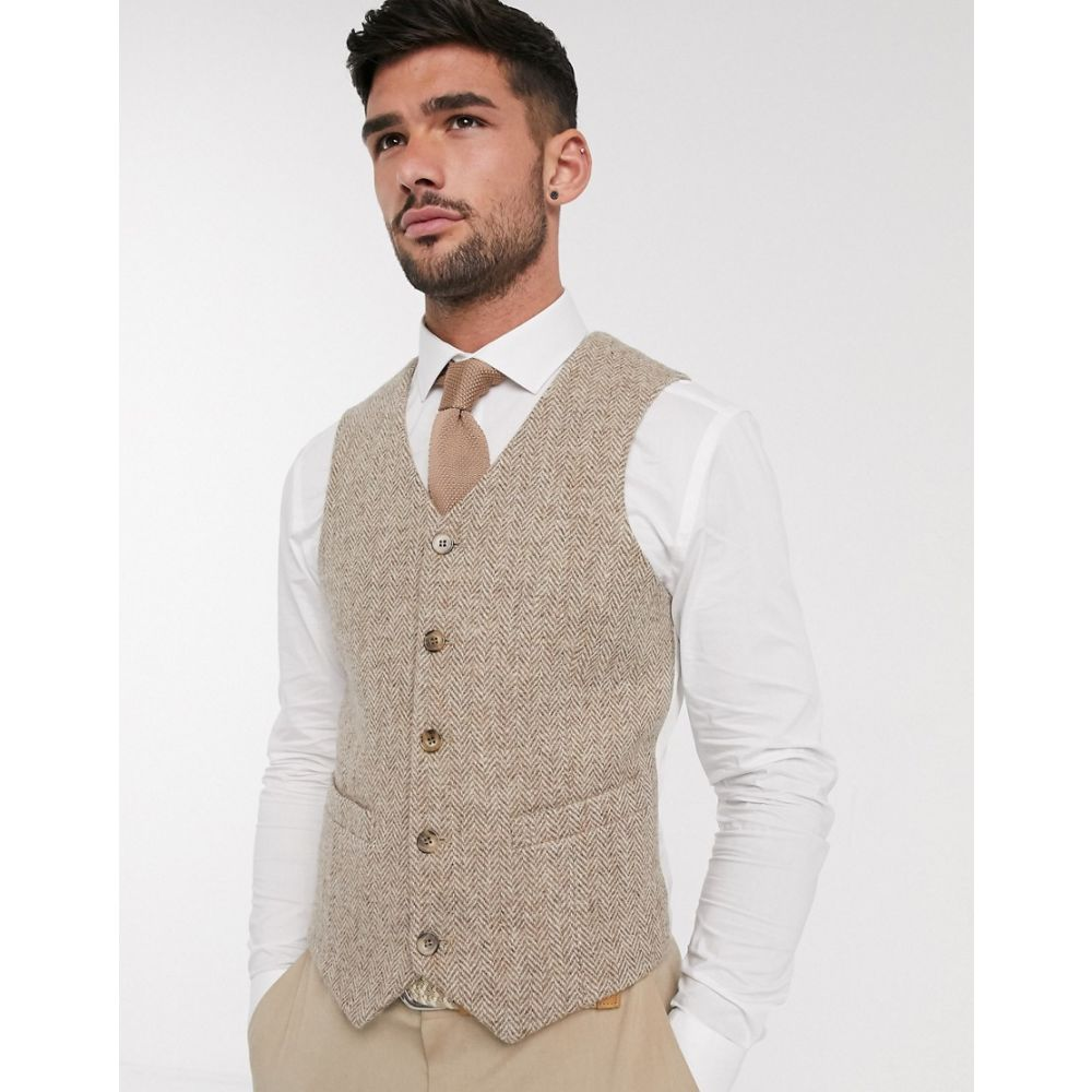エイソス ASOS DESIGN メンズ ベスト・ジレ トップス【wedding Harris Tweed slim waistcoat with wool herringbone in camel】Camel