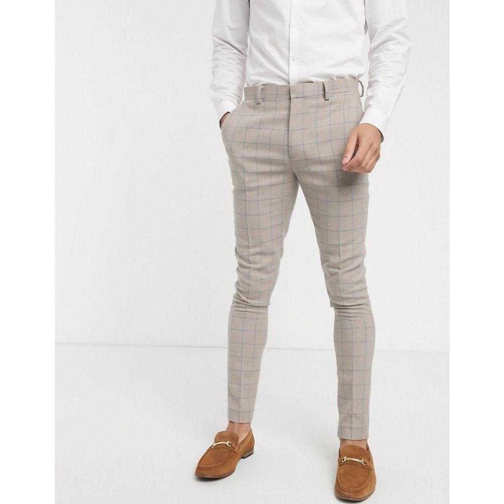 エイソス ASOS DESIGN メンズ スラックス ボトムス・パンツ【wedding super skinny suit trousers in wool mix with beige grid check】Beige