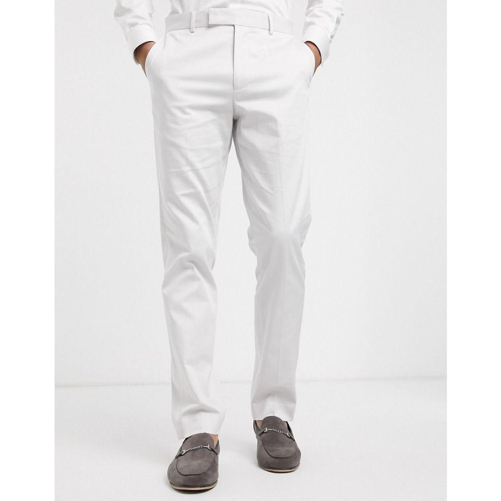 エイソス ASOS DESIGN メンズ スラックス ボトムス・パンツ【wedding slim suit trousers in light grey stretch cotton】Light grey