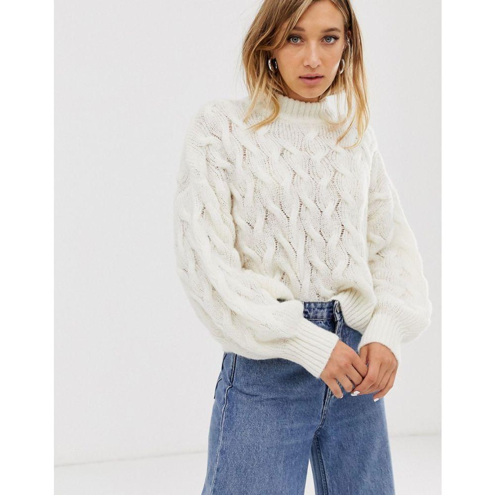 ウィークデイ Weekday レディース ニット・セーター トップス【aran effect sweater in off white】Off white