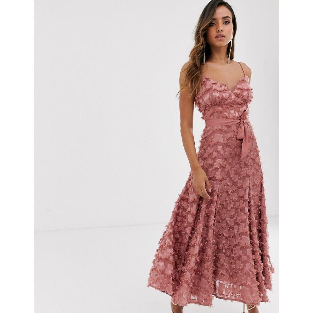 フォーエバー ユー Forever U レディース ワンピース ミドル丈 ワンピース・ドレス【midi dress with fringe 3D fabrication in dusty rose】Rose pink