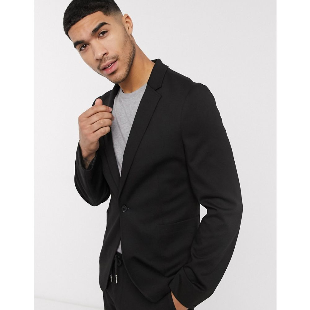 エイソス ASOS DESIGN メンズ スーツ・ジャケット アウター【super skinny suit jacket in black jersey】Black