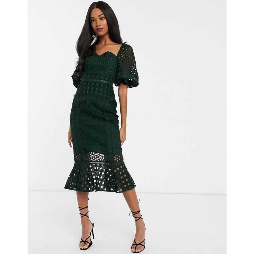 エイソス ASOS DESIGN レディース ワンピース ミドル丈 ワンピース・ドレス【midi Dress in structured lace with puff sleeve】Green