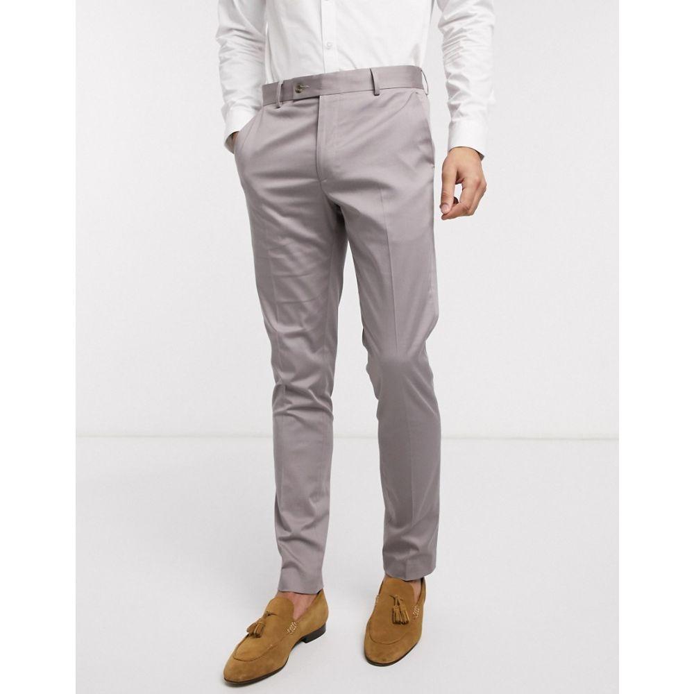 エイソス ASOS DESIGN メンズ スラックス ボトムス・パンツ【wedding skinny suit trousers in grey stretch cotton】Grey