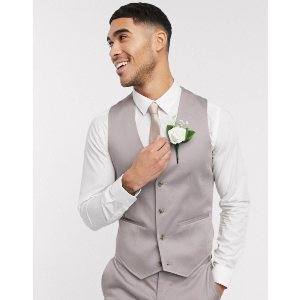 エイソス ASOS DESIGN メンズ ベスト・ジレ トップス【wedding skinny suit waistcoat in grey stretch cotton】Grey