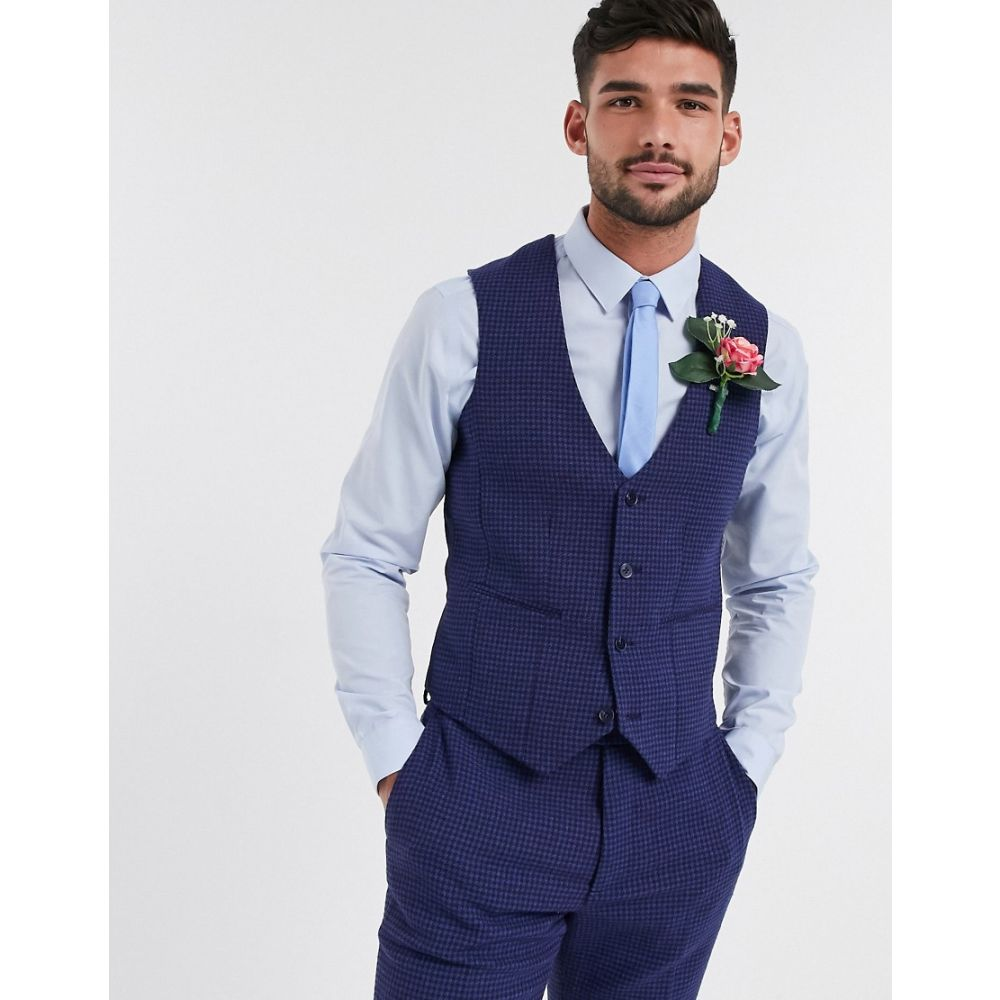 エイソス ASOS DESIGN メンズ ベスト・ジレ トップス【wedding skinny suit waistcoat in blue wool blend micro houndstooth】Blue