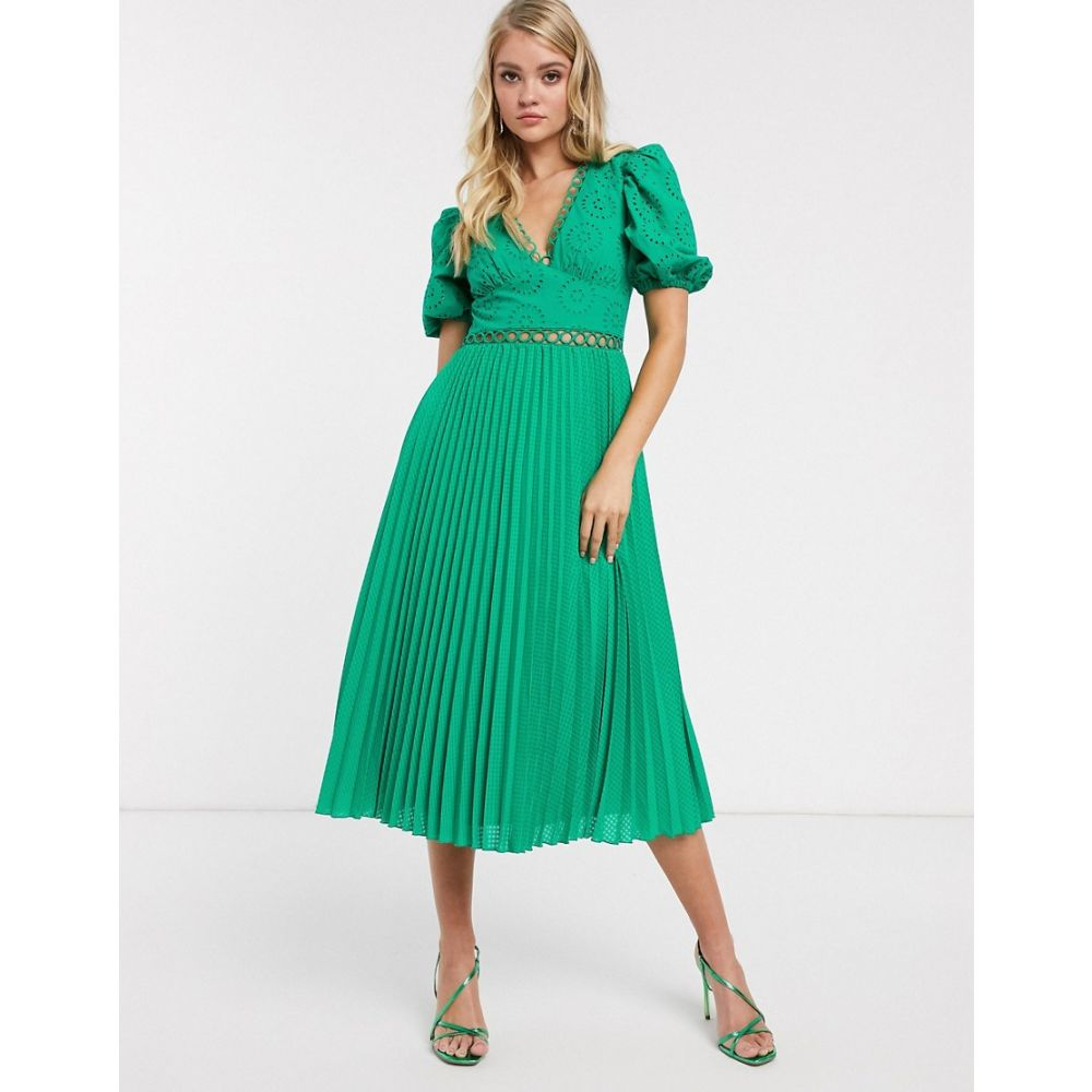 エイソス ASOS DESIGN レディース ワンピース ミドル丈 ワンピース・ドレス【broderie pleated midi tea dress with puff sleeve in emerald green】Emerald green