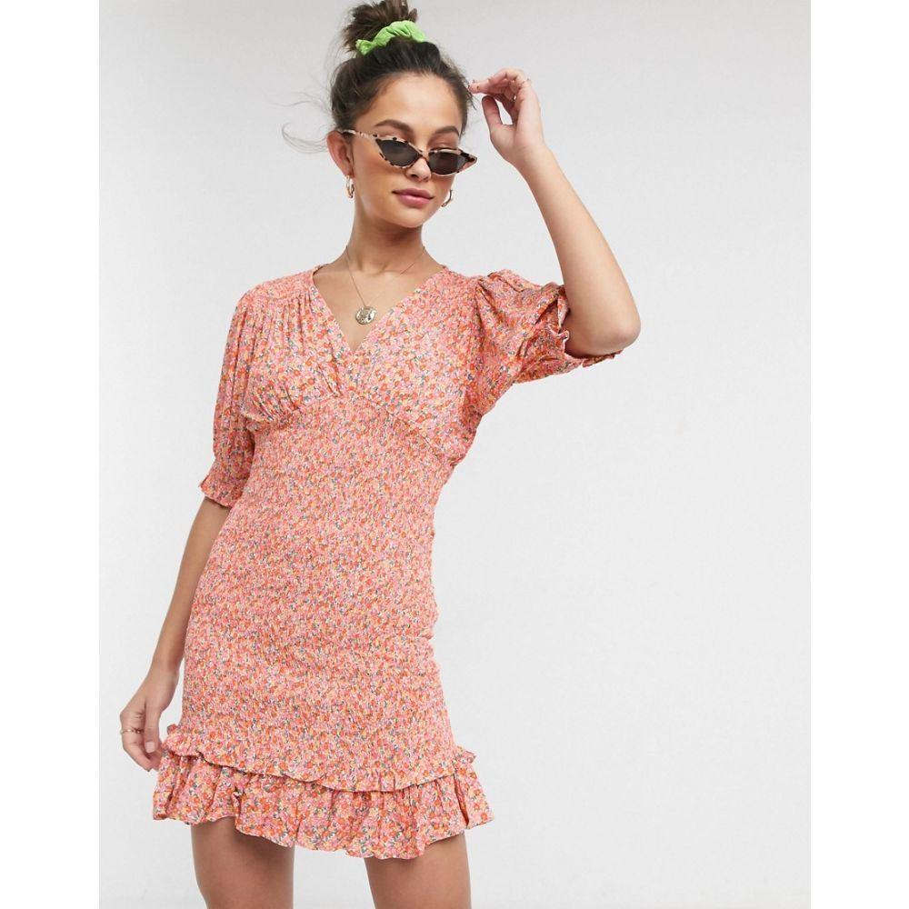 フェイスフルザブランド Faithfull the Brand レディース ワンピース ワンピース・ドレス【Faithfull margherita floral short sleeve shirred mini dress in pink】Pink