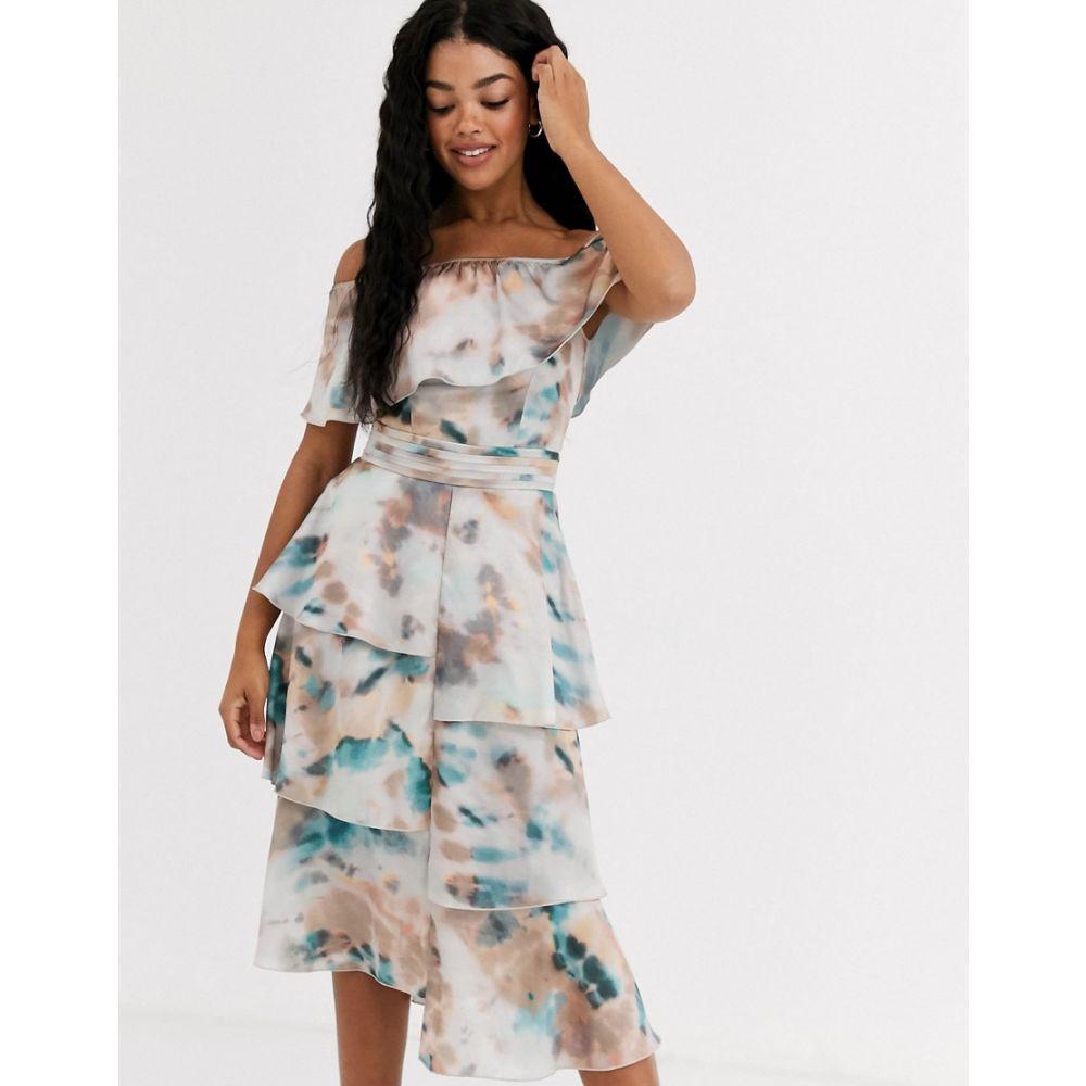 リトル ミストレス Little Mistress レディース ワンピース ワンピース・ドレス【floaty off shoulder dress in marble print】Multi