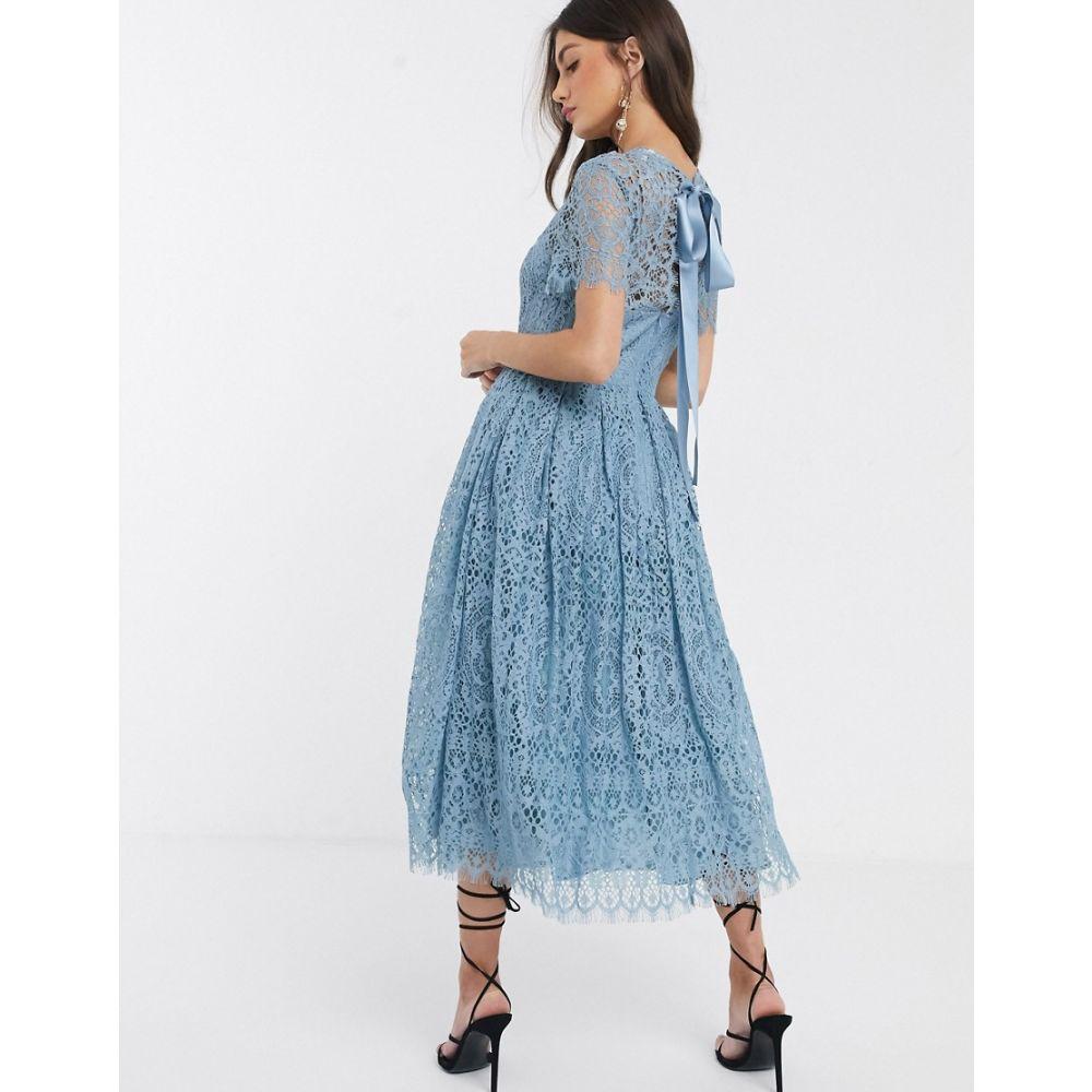 エイソス ASOS DESIGN レディース ワンピース ミドル丈 ワンピース・ドレス【lace midi dress with ribbon tie and open back】Dusky blue