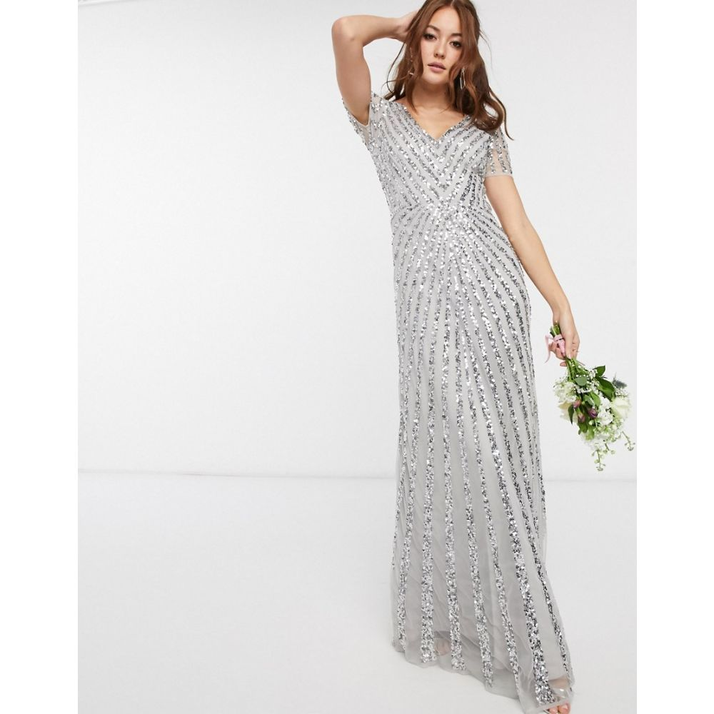 マヤ Maya レディース ワンピース マキシ丈 ワンピース・ドレス【Bridesmaid plunge front all over embellished maxi dress in silver】Silver