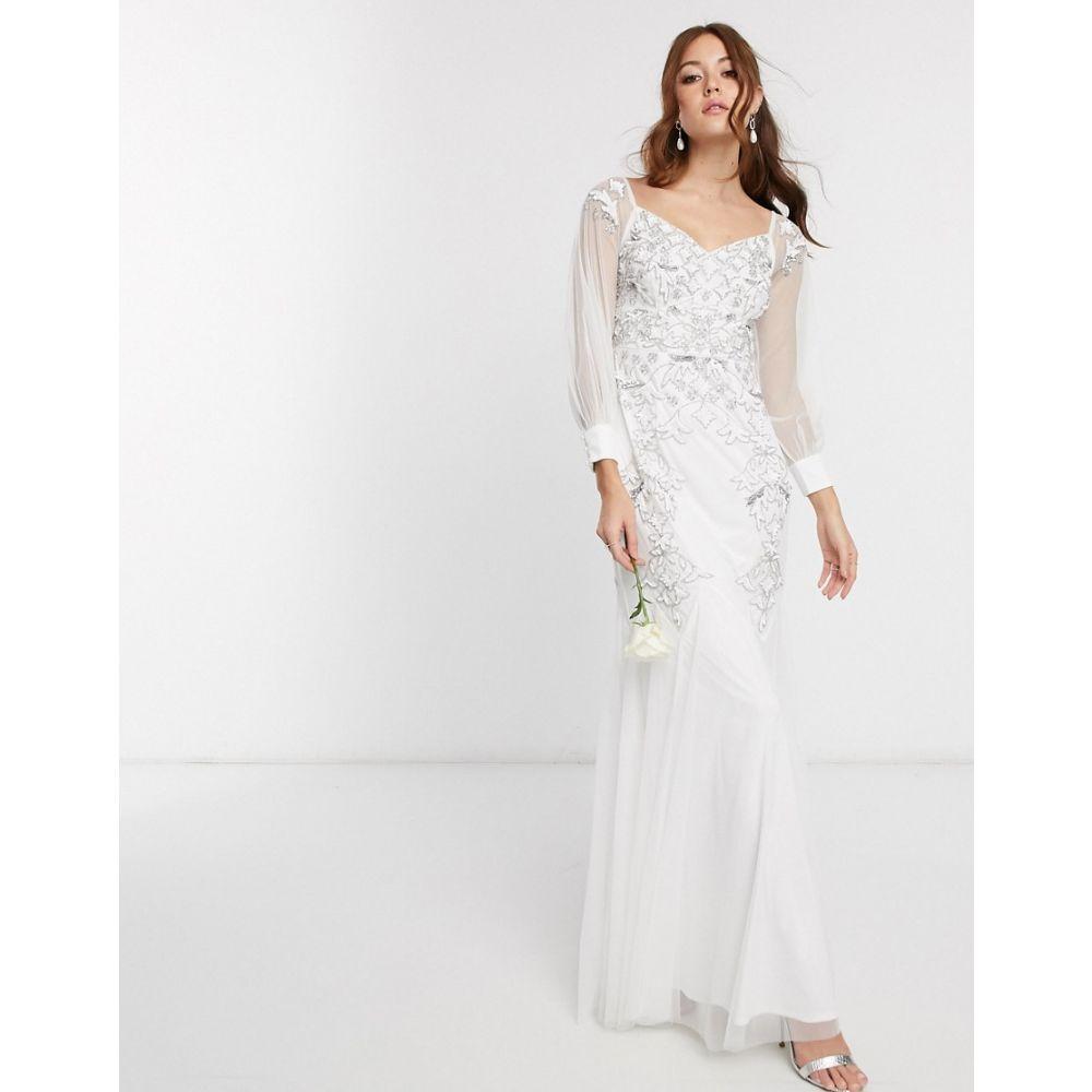 マヤ Maya レディース パーティードレス マキシ丈 ワンピース・ドレス【Bridal off shoulder embellished maxi dress with bell sleeves in white】White