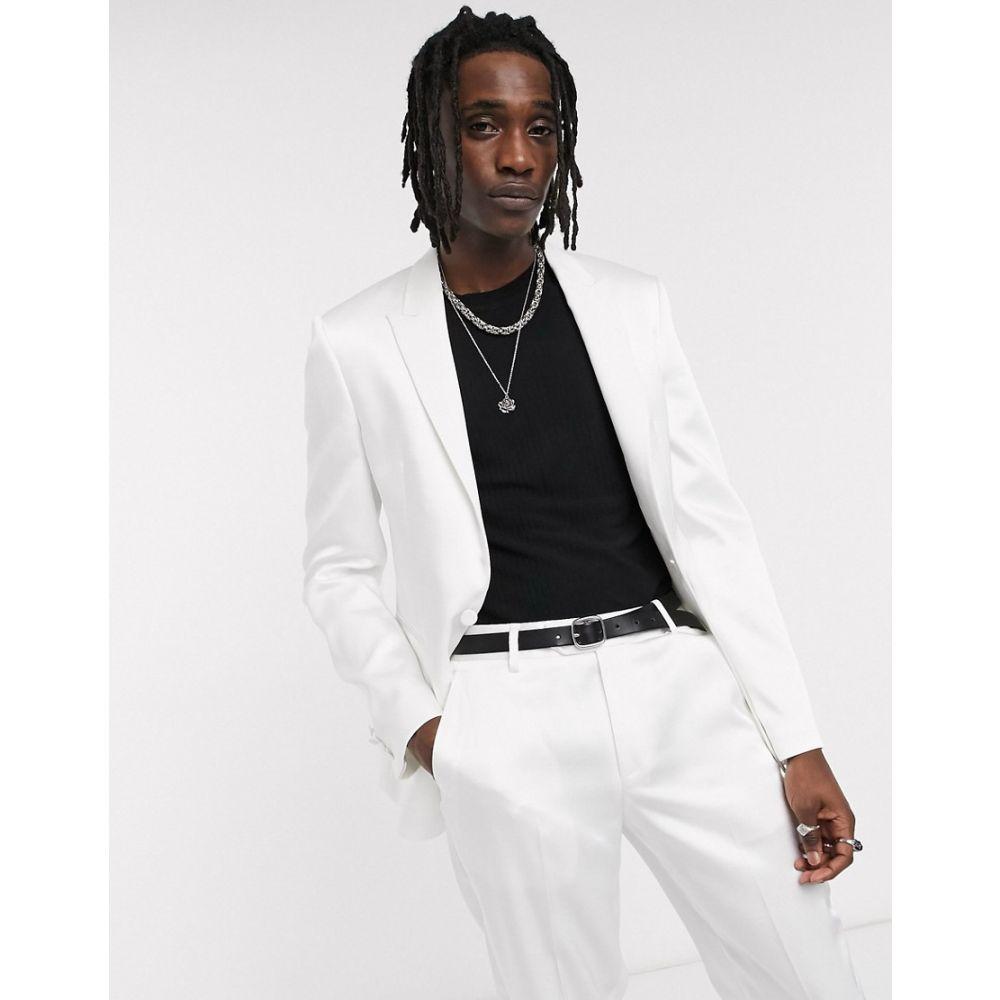 エイソス ASOS DESIGN メンズ スーツ・ジャケット タキシード アウター【skinny tuxedo suit jacket in white with high shine panels】White