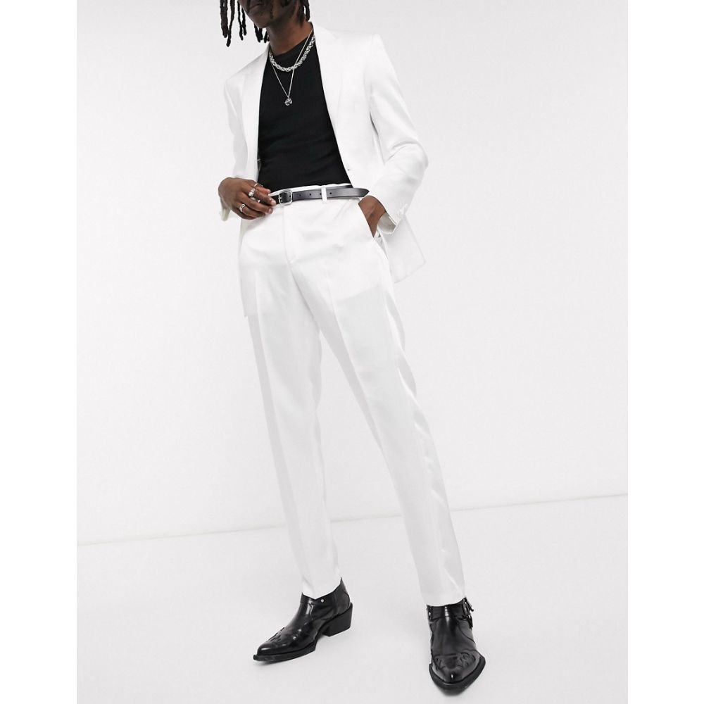 エイソス ASOS DESIGN メンズ スラックス タキシード ボトムス・パンツ【skinny tuxedo suit trousers in white with high shine panels】White