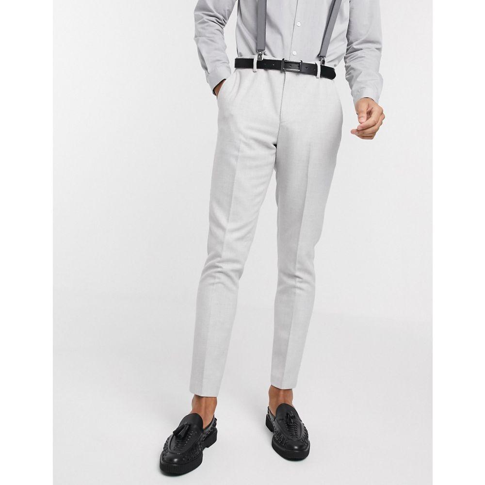エイソス ASOS DESIGN メンズ スラックス ボトムス・パンツ【wedding skinny suit trousers in wool mix twill in ice grey】Grey