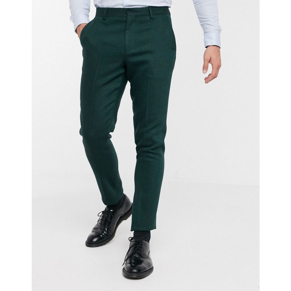 エイソス ASOS DESIGN メンズ スラックス ボトムス・パンツ【wedding skinny suit trousers in wool mix herringbone in forest green】Green