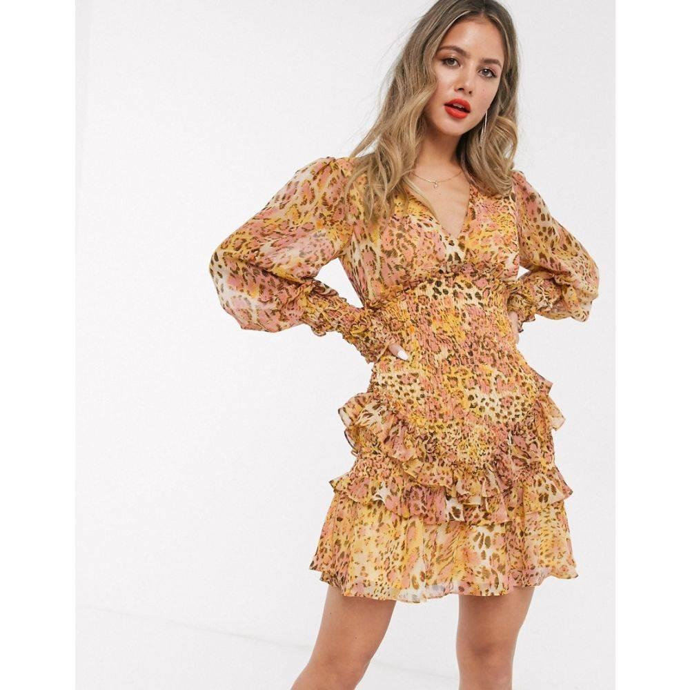 バルドー Bardot レディース ワンピース ワンピース・ドレス【long sleeve shirred frill hem mini dress in mustard/blush leopard print】Mustard/blush