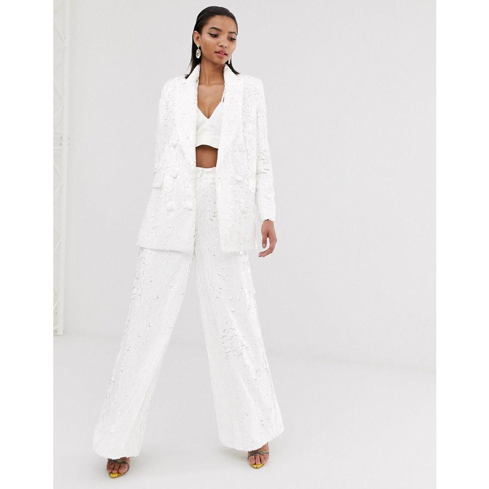 エイソス ASOS EDITION レディース ボトムス・パンツ ワイドパンツ【sequin wide leg flare trouser】White