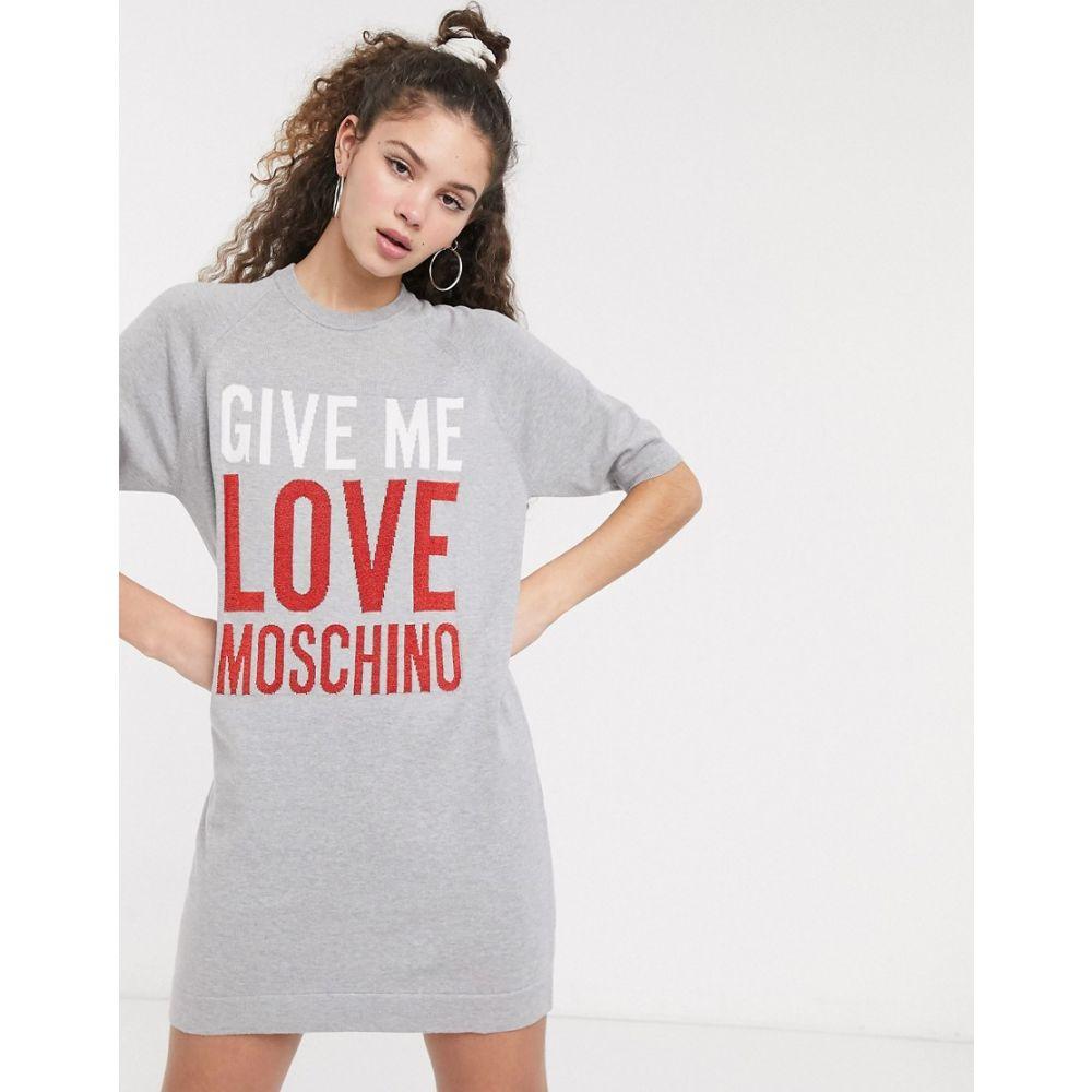 モスキーノ Love Moschino レディース ワンピース Tシャツワンピース ワンピース・ドレス【give me slogan t-shirt dress】Grey