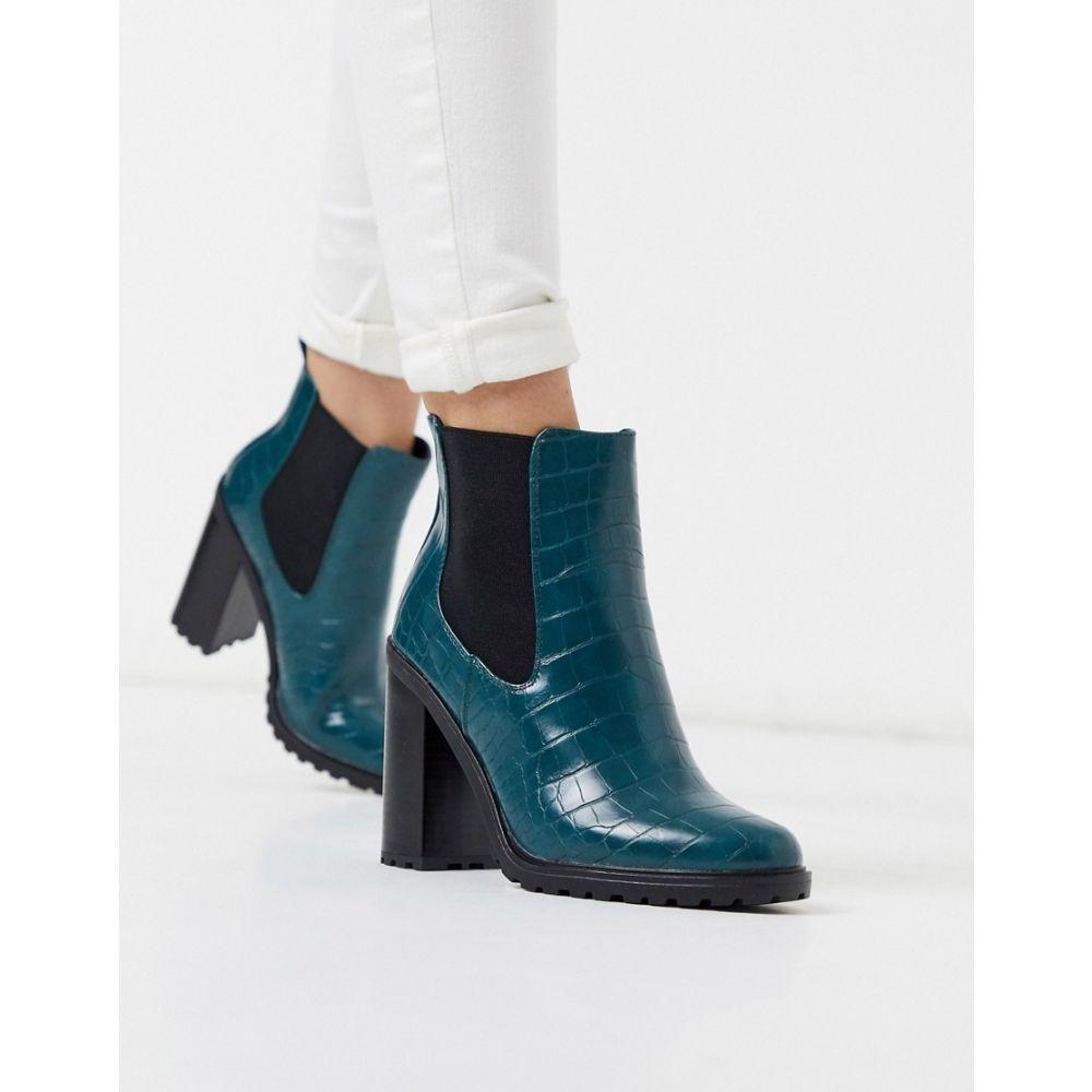 ニュールック New Look レディース ブーツ ショートブーツ チャンキーヒール シューズ・靴【croc pu chunky ankle boot in green】Forest green