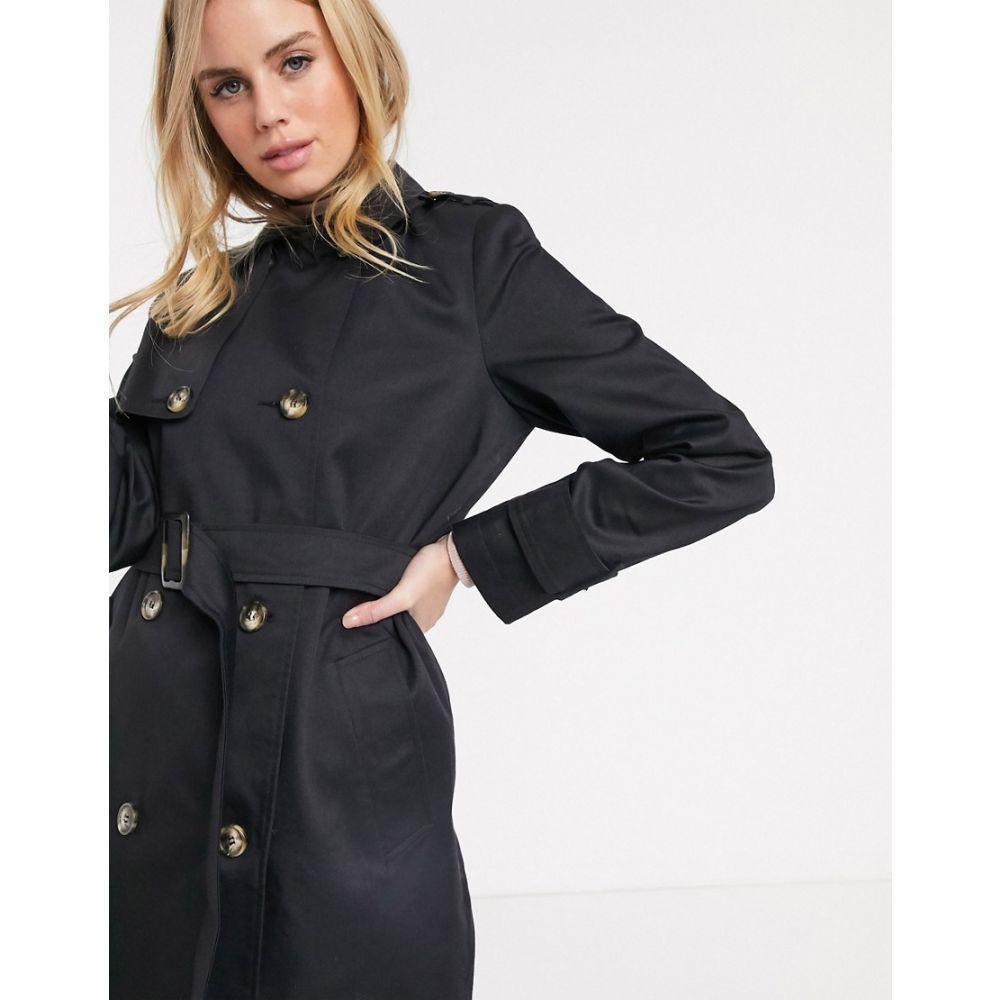 エイソス ASOS DESIGN レディース トレンチコート アウター【trench coat in black】Black
