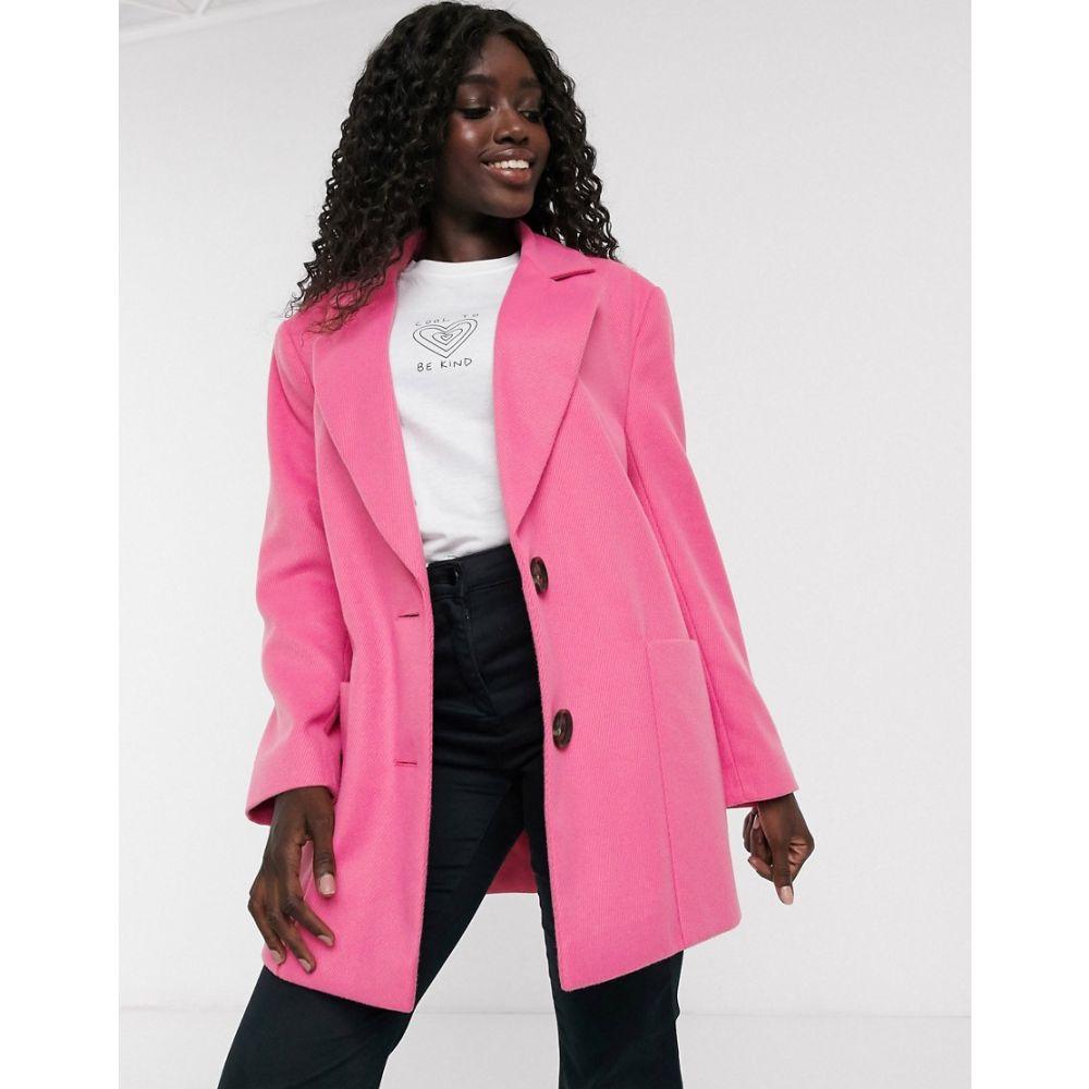 エイソス ASOS DESIGN レディース コート アウター【bright bonded crepe grandad coat in pink】Hot pink