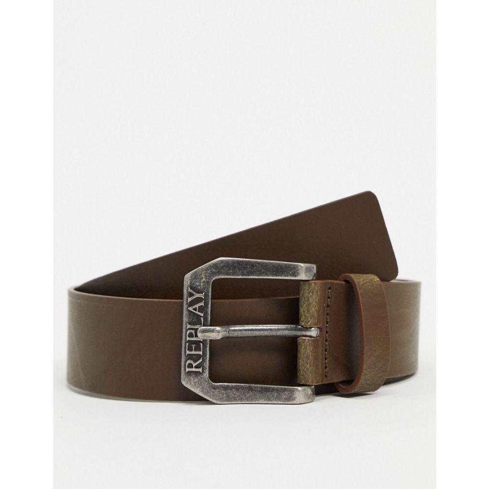 リプレイ Replay メンズ ベルト 【leather belt in brown】Brown
