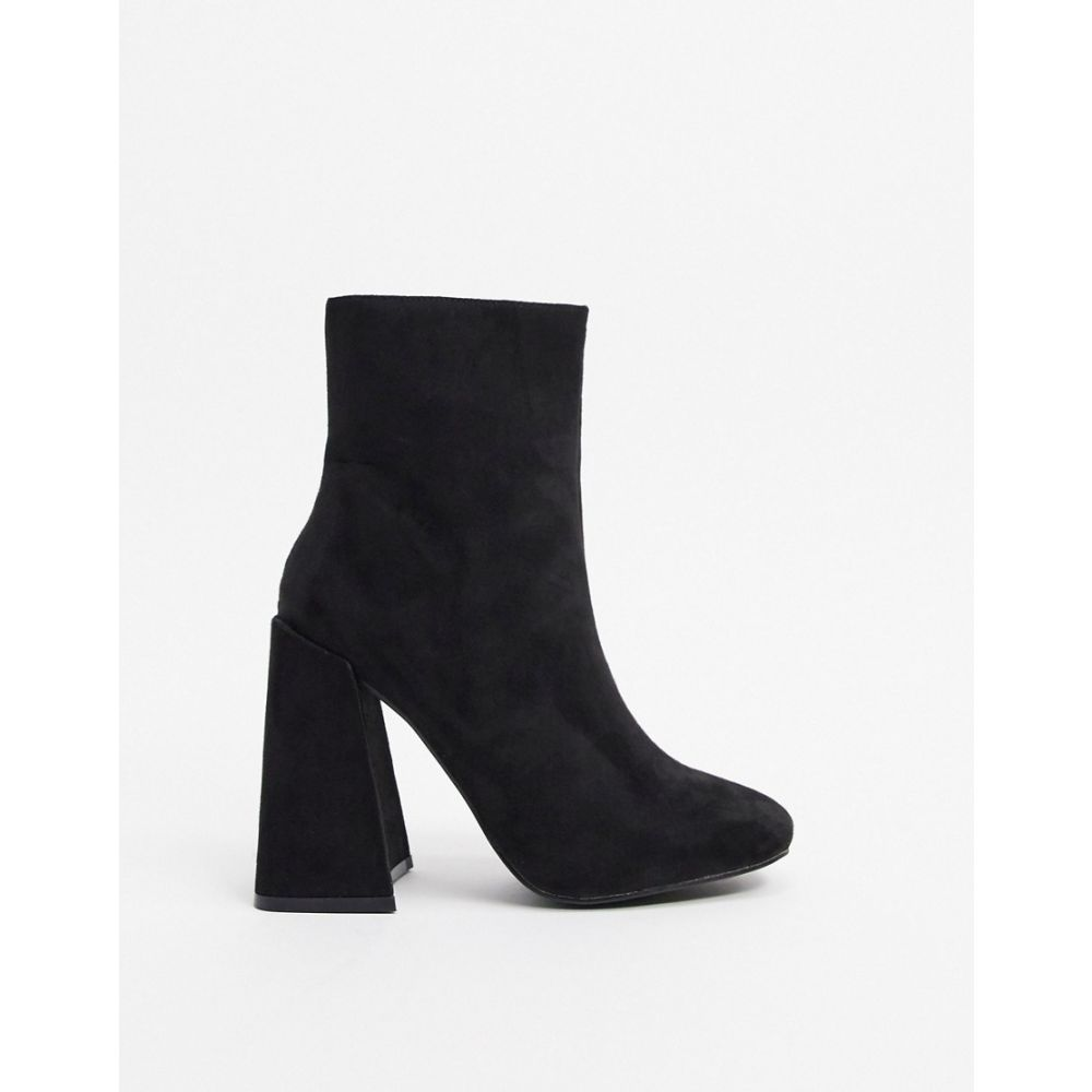ニュールック New Look レディース ブーツ シューズ・靴【flare heeled boots in black suedette】Black suedette