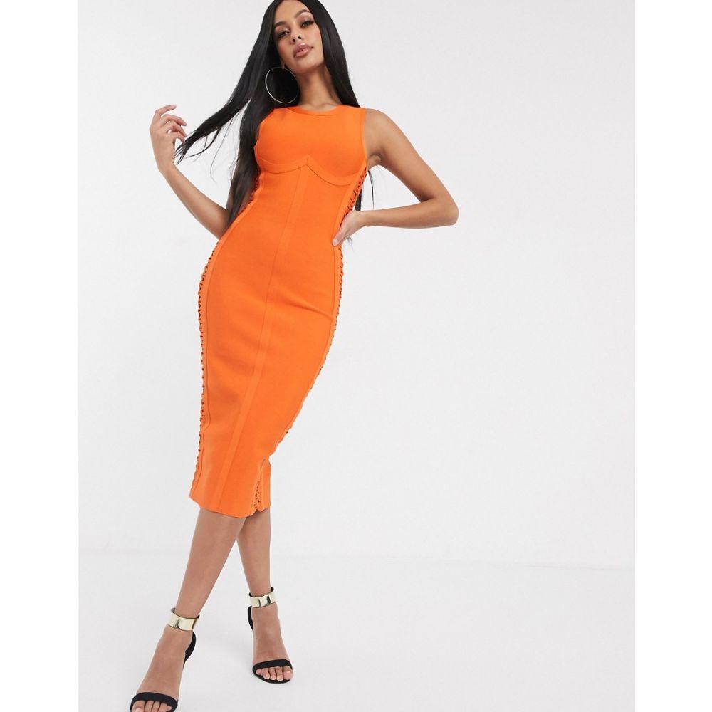 バンドオブスターズ Band of Stars レディース ワンピース ペンシル レースアップ ミドル丈 ワンピース・ドレス【Band Of Stars lace up side midi pencil dress in orange】Orange